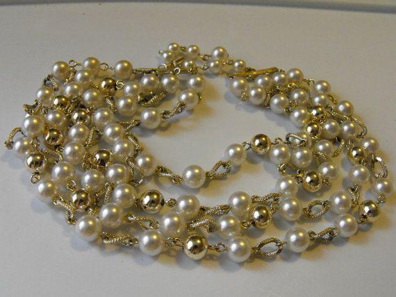 Vintage 50s Japan Faux Pearl Choker Necklace Costume by soulrust, $16.99