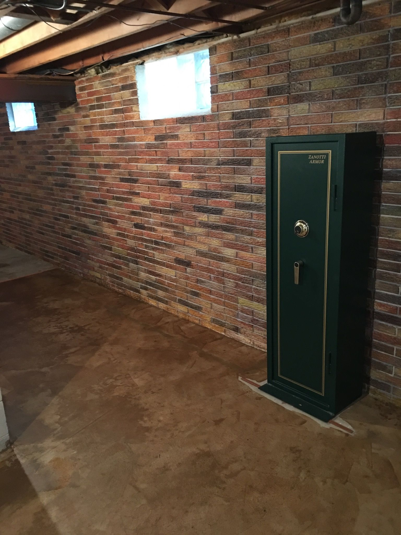 this basement wall is a poured concrete with a brick on paint for basement walls id=44991