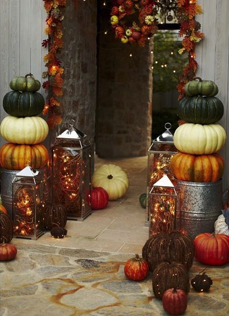 Urns front door / stack pumpkins / lanterns from Hobby Lobby / ligh - hobby lobby halloween decorations
