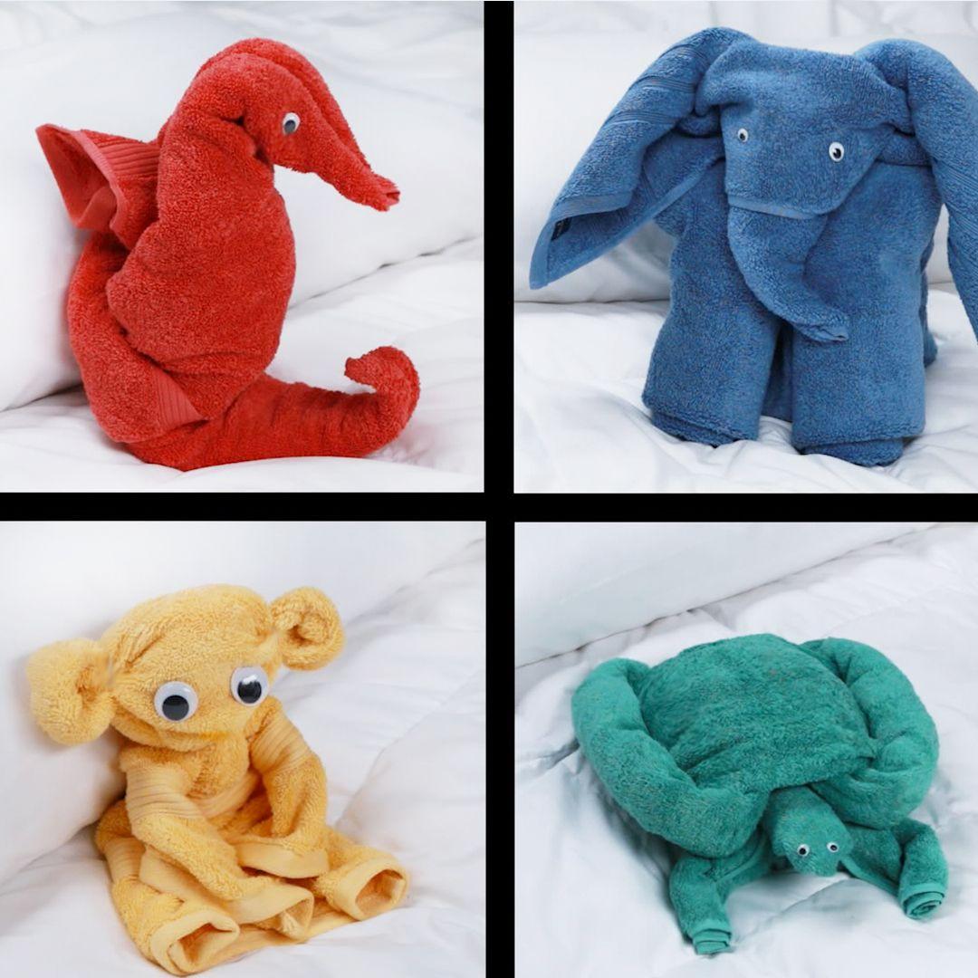fold bath towels into adorable animals handtuchtiere pinterest handt cher s und. Black Bedroom Furniture Sets. Home Design Ideas