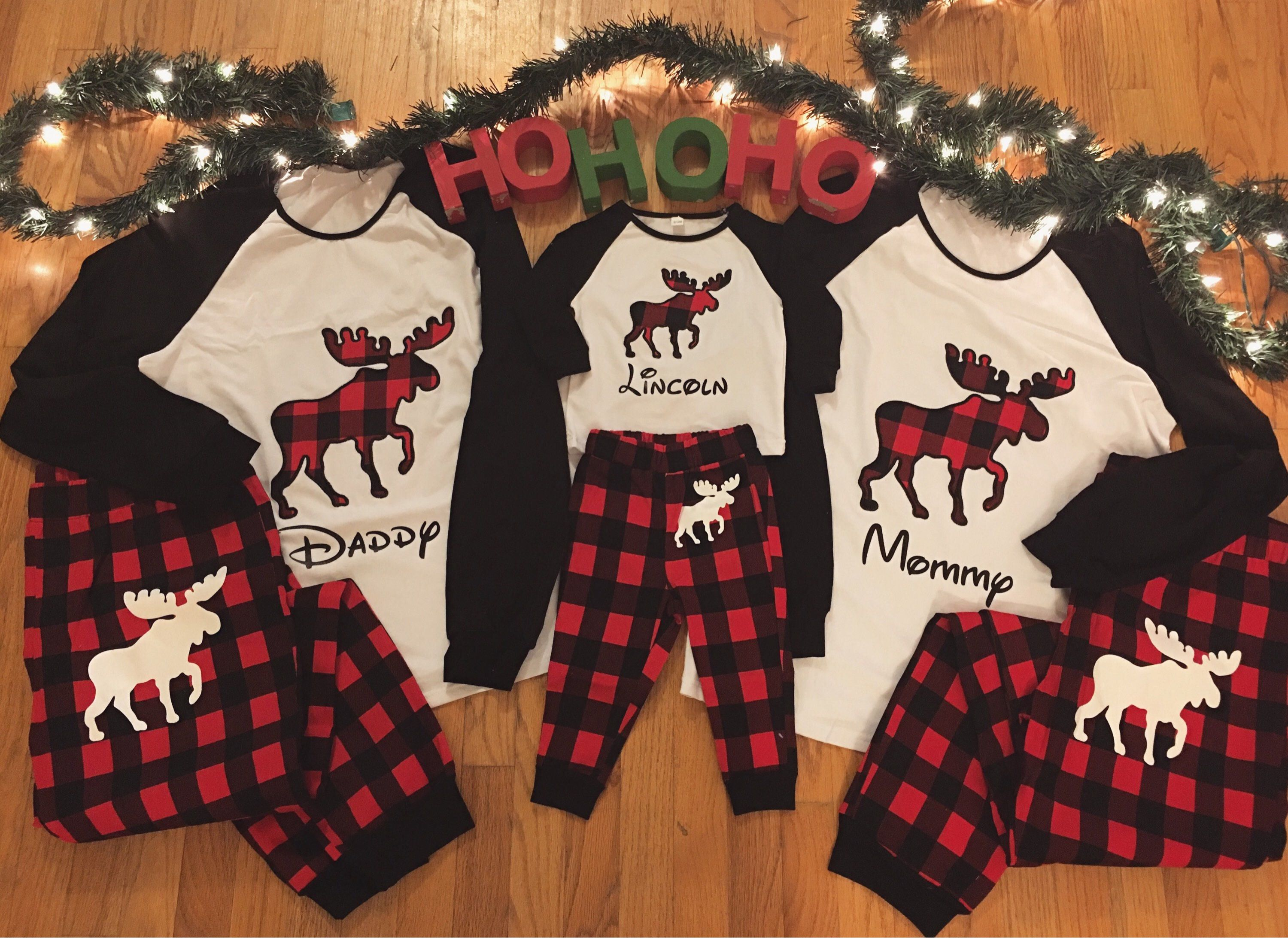 Personalized with name - Christmas family matching buffalo plaid moose  holiday pajamas flannel long sleeve adult 16b6782bb