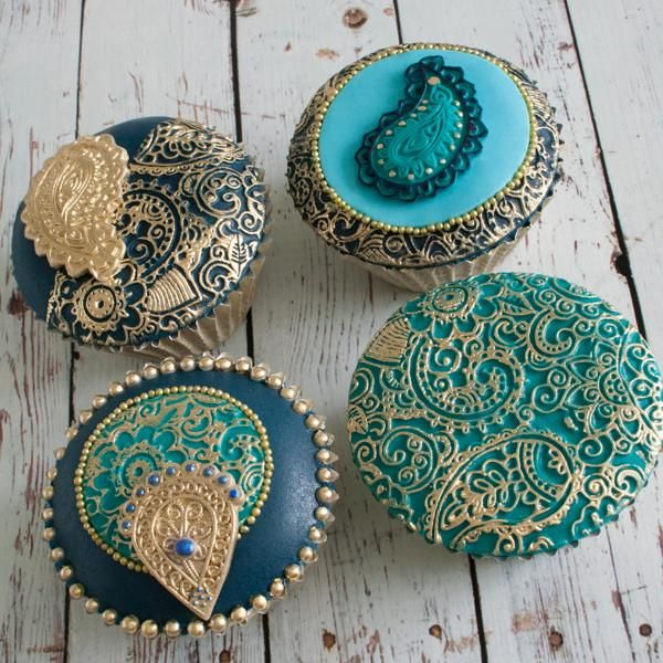 Asian Mehndi Party : Indian asian wedding cupcakes henna inspired texture
