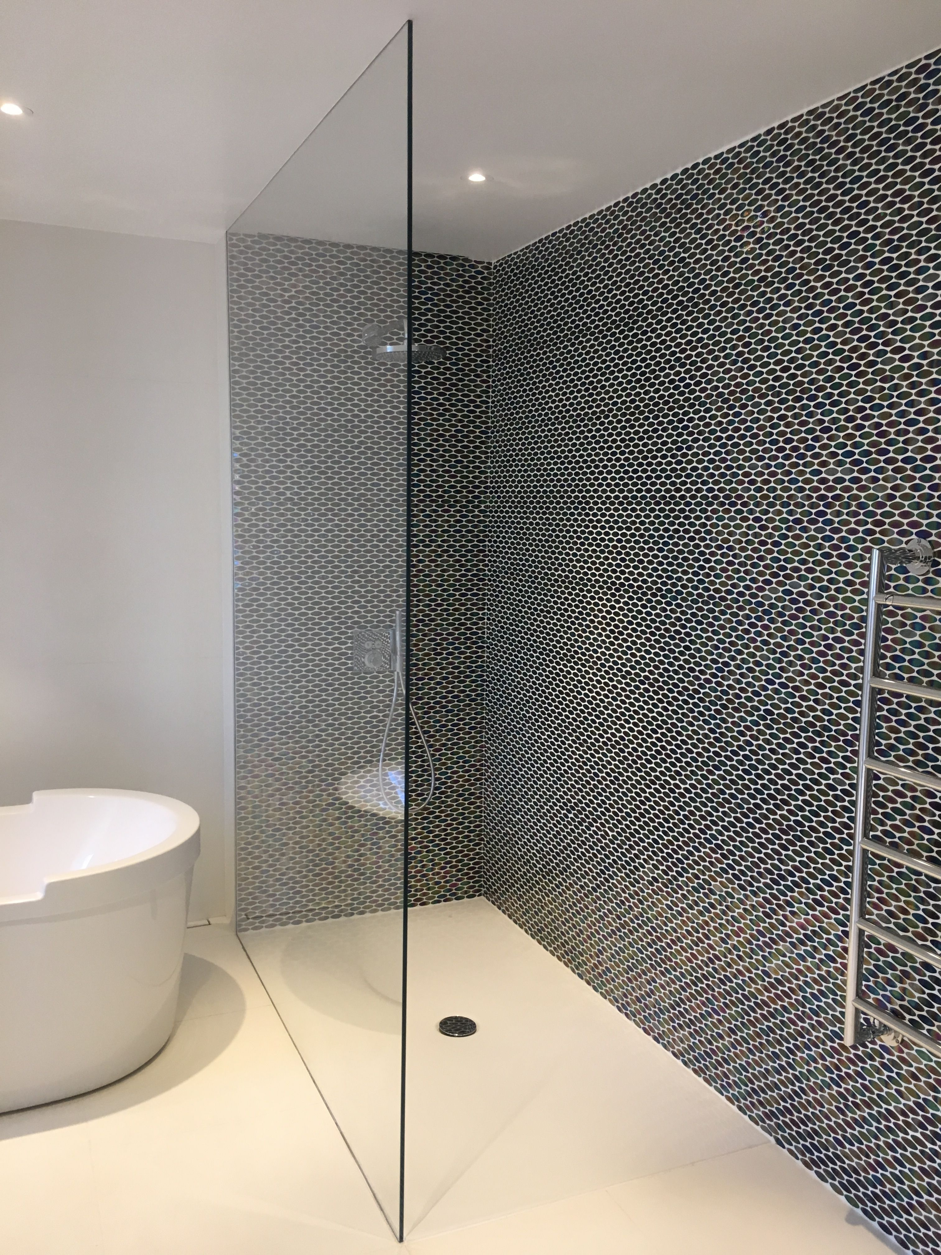 Walk in shower screen in ultra clear low-iron glass, with channels ...
