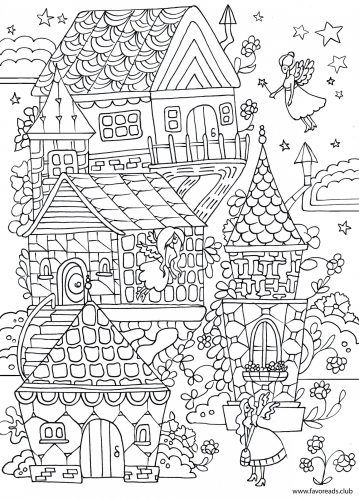 Fairy House printable adult coloring page Zentangles Adult