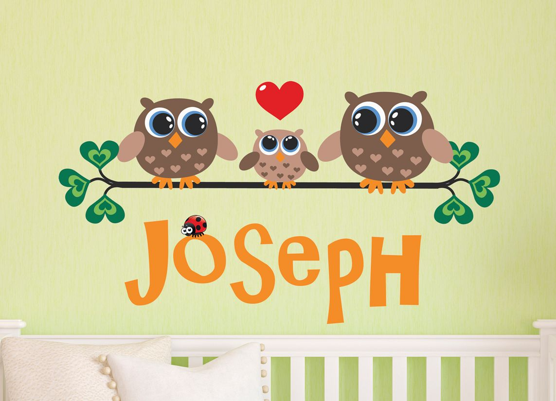 Family of 3 owls wall decal Personalized Name for Baby boy nursery ...