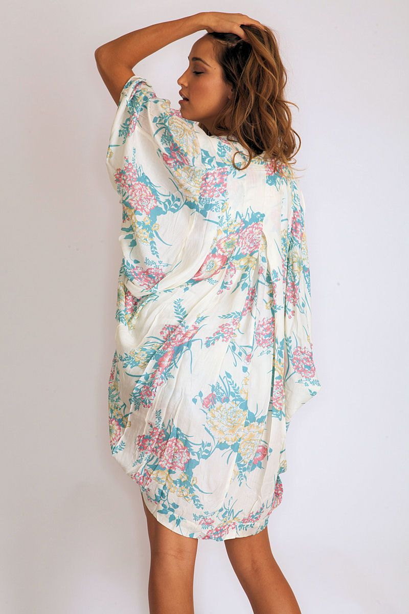 Arnhem clothing song bird kimono in wild lily blue arnhem at