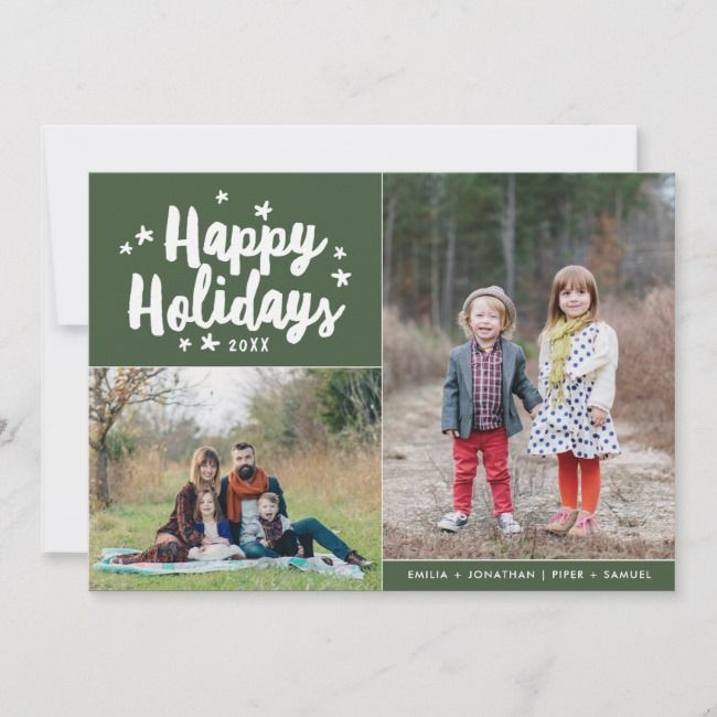 Happy Holidays Hand Lettered 2 Photo Holiday