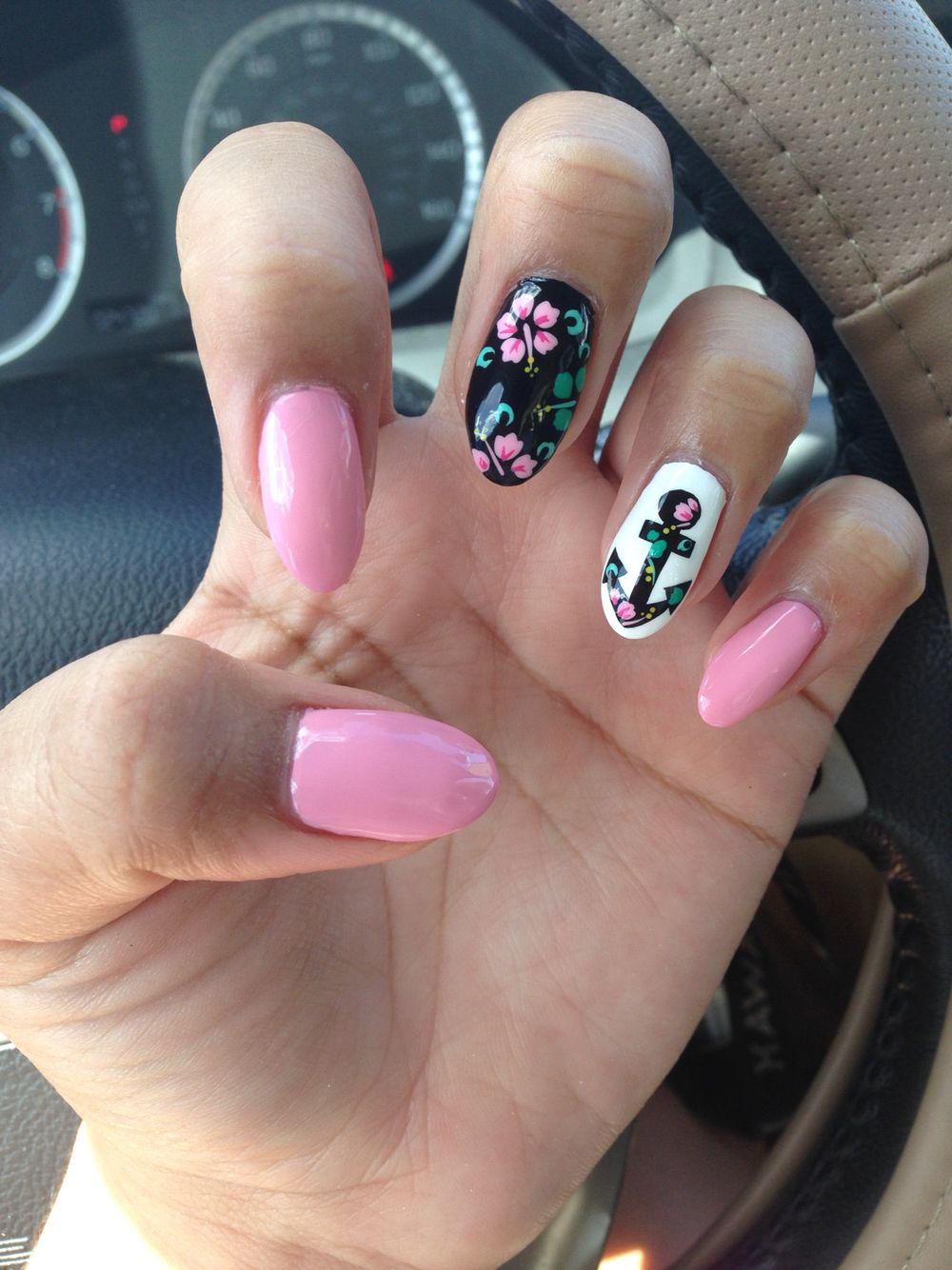 Pink with floral & anchor designs, gel nails, almond shaped. | Nails ...