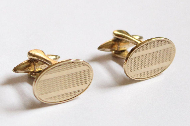 Gold Oval Stratton Vintage Cufflinks | Cufflinks | Cufflinks