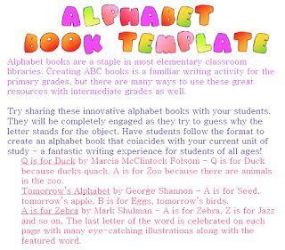 FREE LANGUAGE ARTS LESSON - FREE Alphabet Book Template - Go to ...