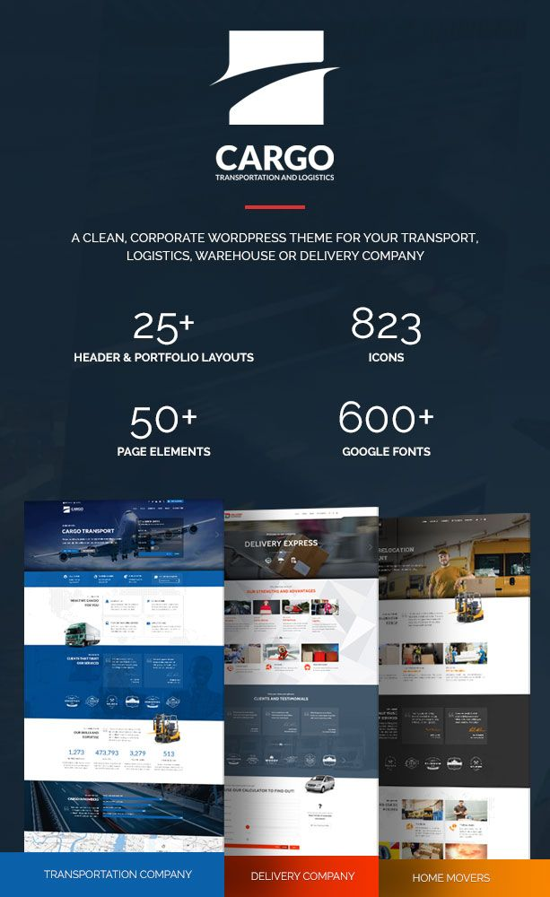 Cargo is a transport, logistics & home movers WordPress theme with