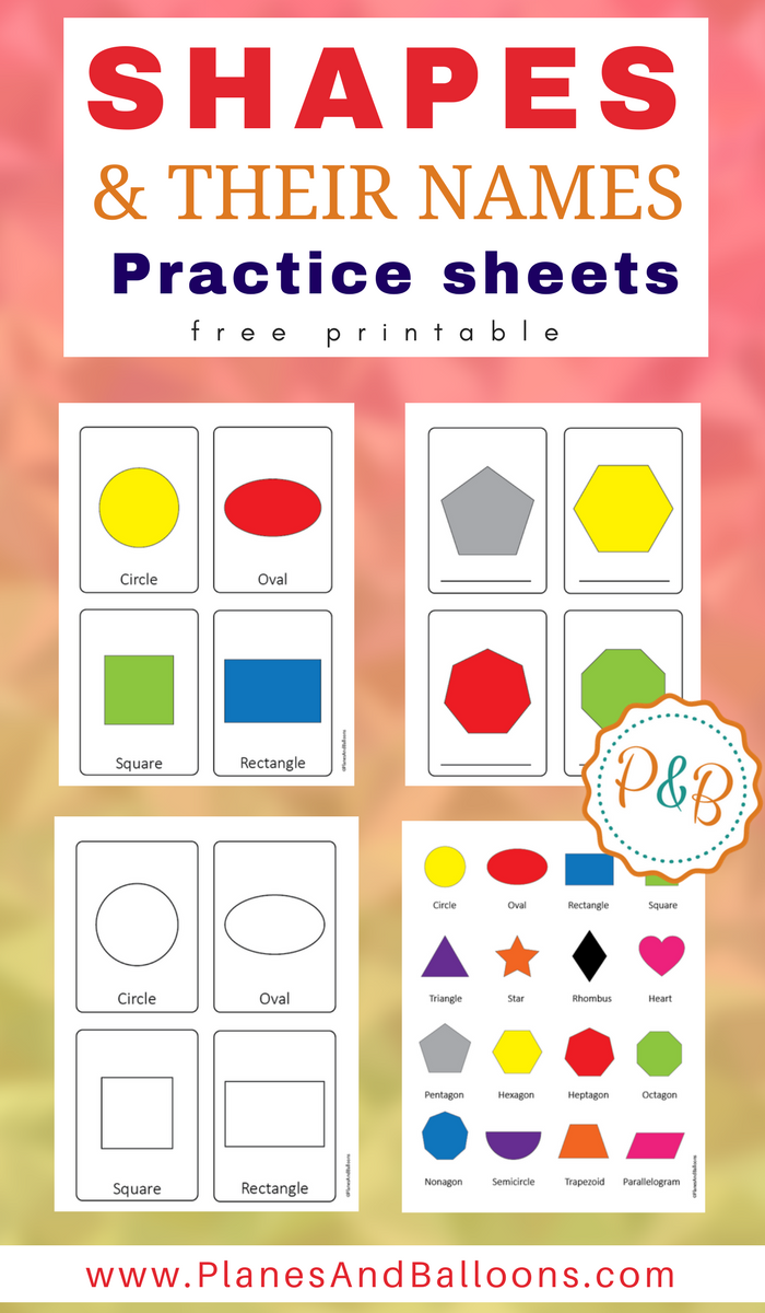 Shapes images with names practice sheets Name, write