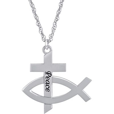 Sterling silver christian fish pendant the cross is engraved sterling silver christian fish pendant the cross is engraved with the word peace and intertwined aloadofball Images