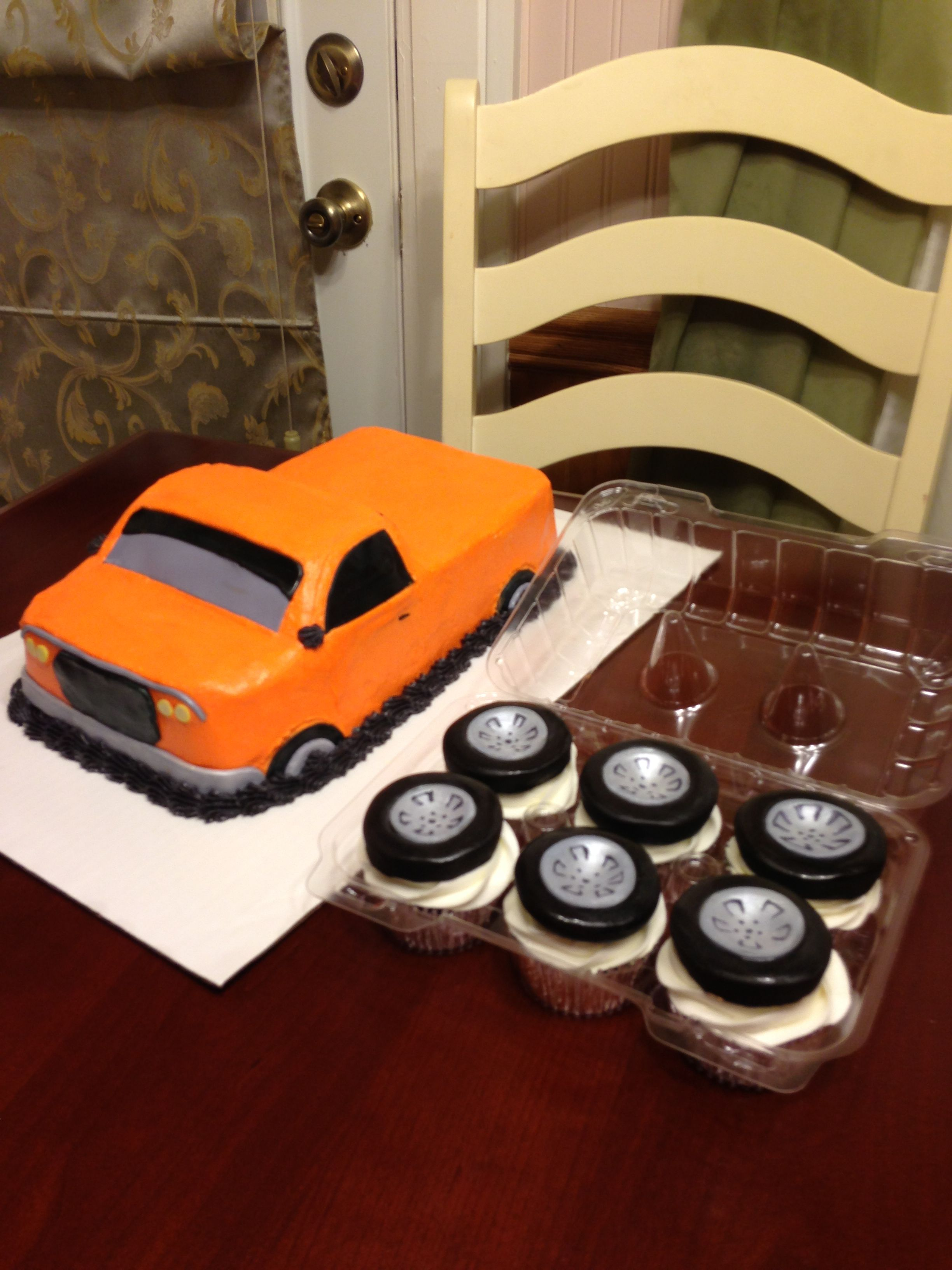 Lowrider Truck Cake And Cupcakes Pickup