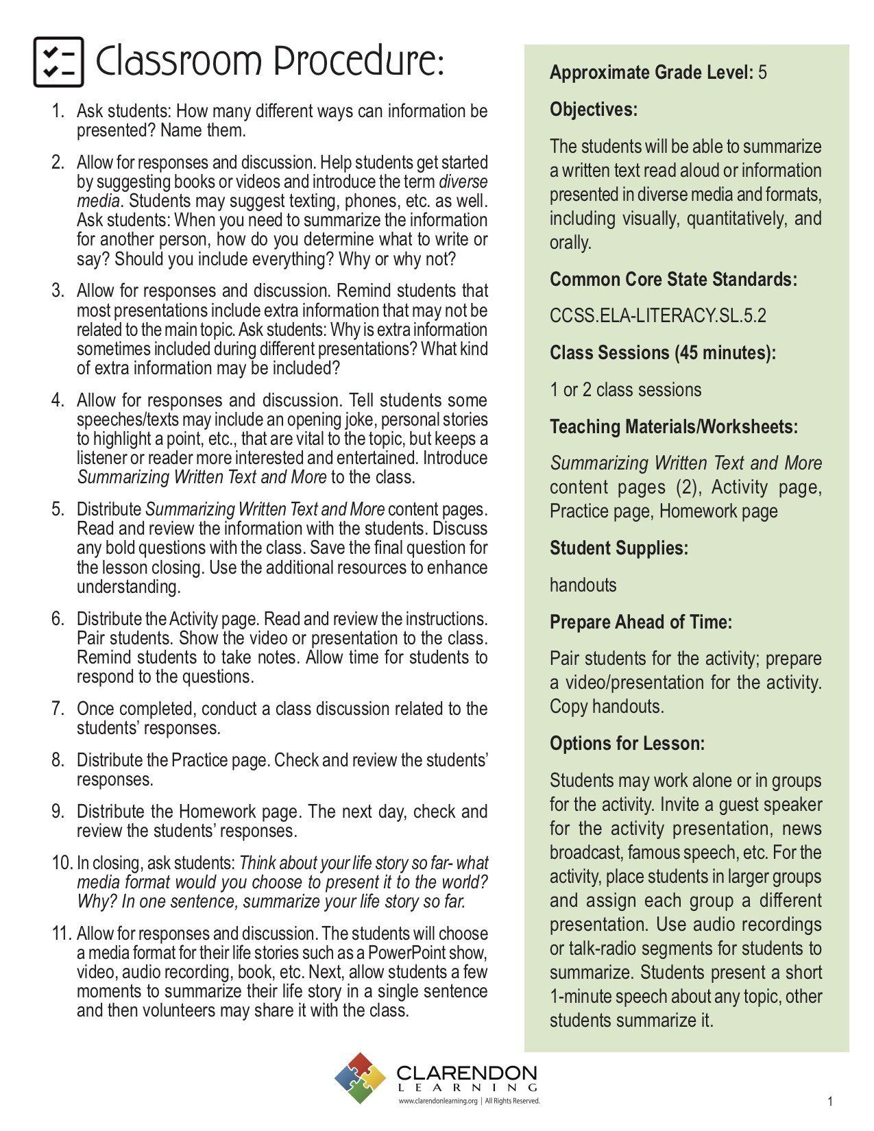 Summarizing Worksheet 3rd Grade Summarizing Written Text