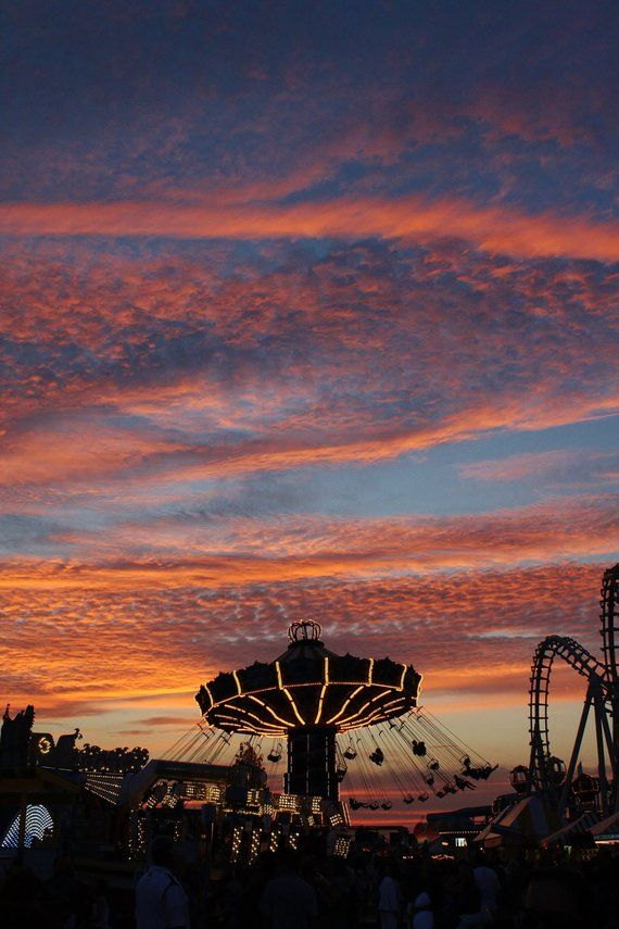 Swing Ride Photography,Sunset, Carousel,Pink and B