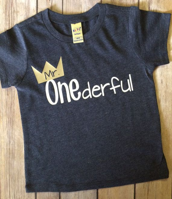 Boys First Birthday Shirt Mr Onederful Tshirt Tee Toddler Gift For