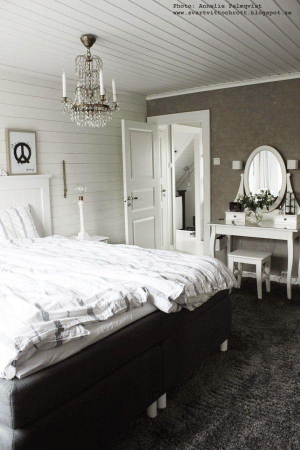 inspiration sovrum, heltäckningsmatta, heltäckningsmattor, sminkbord, vitt, svart och vitt
