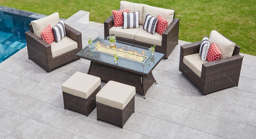 Primo 9 With 2 Seat Sofa Set Gas Fire Pit Coffee Table 2 Footstools Fire Pit Coffee Table Gas Firepit Sofa Set
