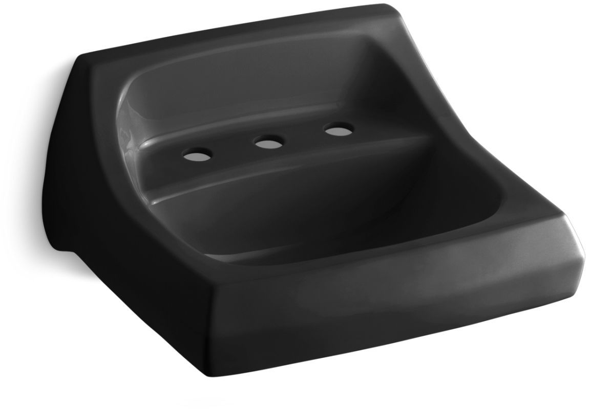 "Kohler K-2006 Kingston 16"" Wall Mounted Bathroom Sink with 3 Holes Drilled and O Black Black Fixture Lavatory Sink Vitreous China"