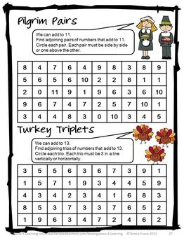 Thanksgiving Math Worksheets, Games, Puzzles, Brain