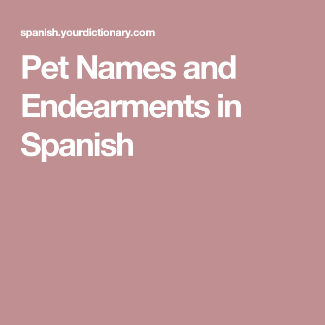 Pet Names and Endearments in Spanish Pet names, Cute pet