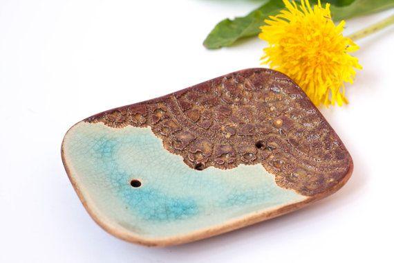 Gift for her Soap holder Bath tray Ocean blue Ceramic dish Bath ...