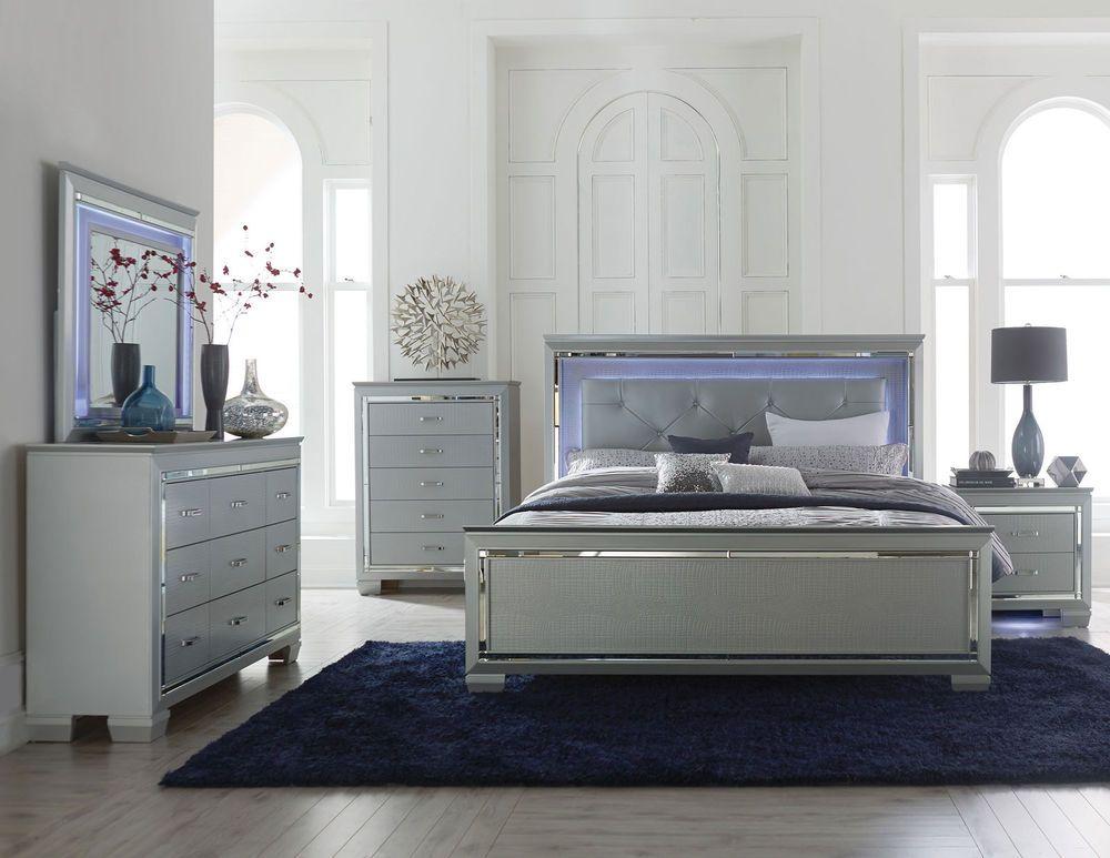 Marin Modern 5pcs Grey King Led Lighted Headboard Mirror Bedroom