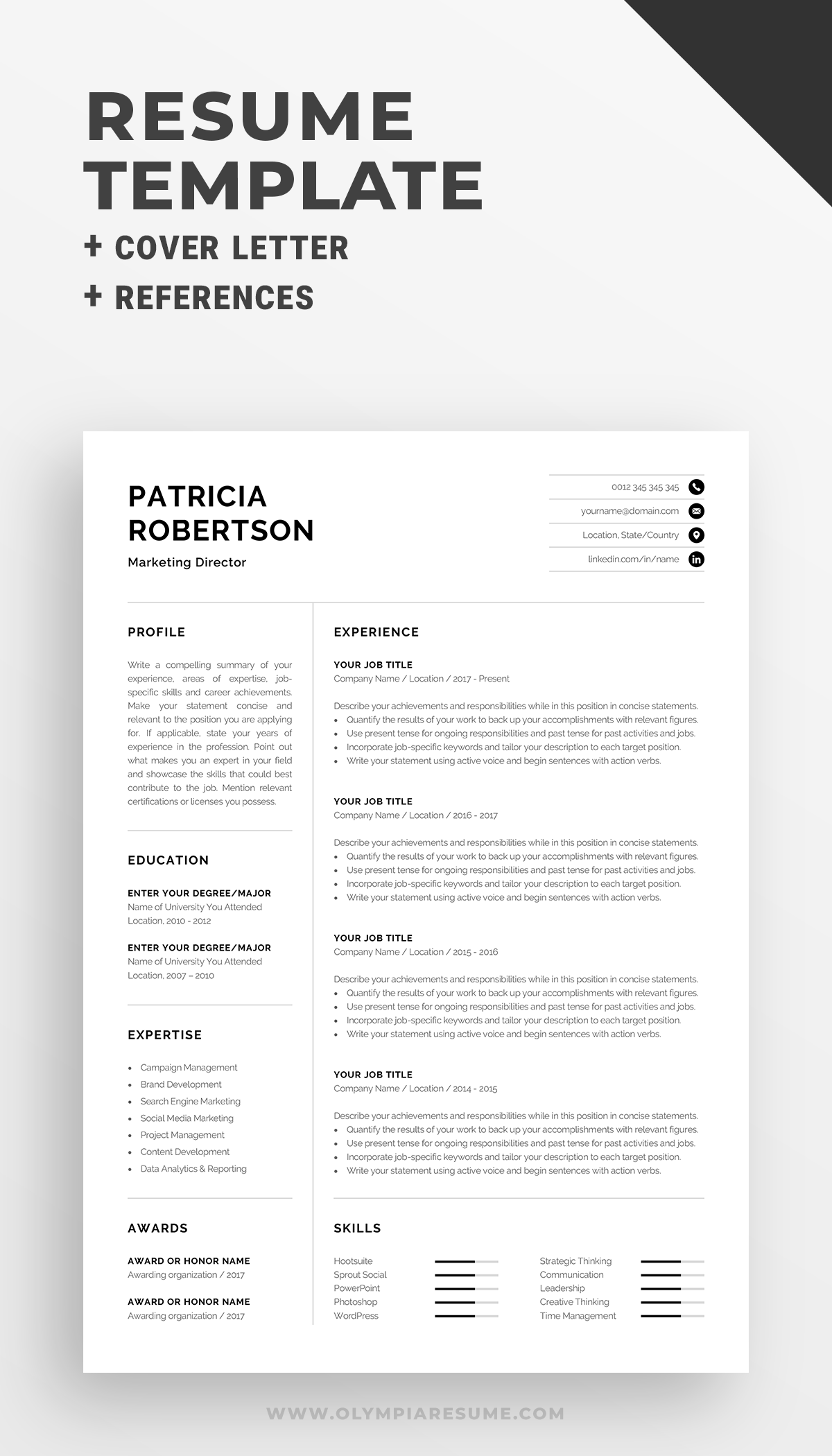 Professional 1 Page Resume Template Modern One Page Cv Word Mac Pages Minimalist Design Developer Designer Marketing Patricia Resume Template Cv Words Resume Skills