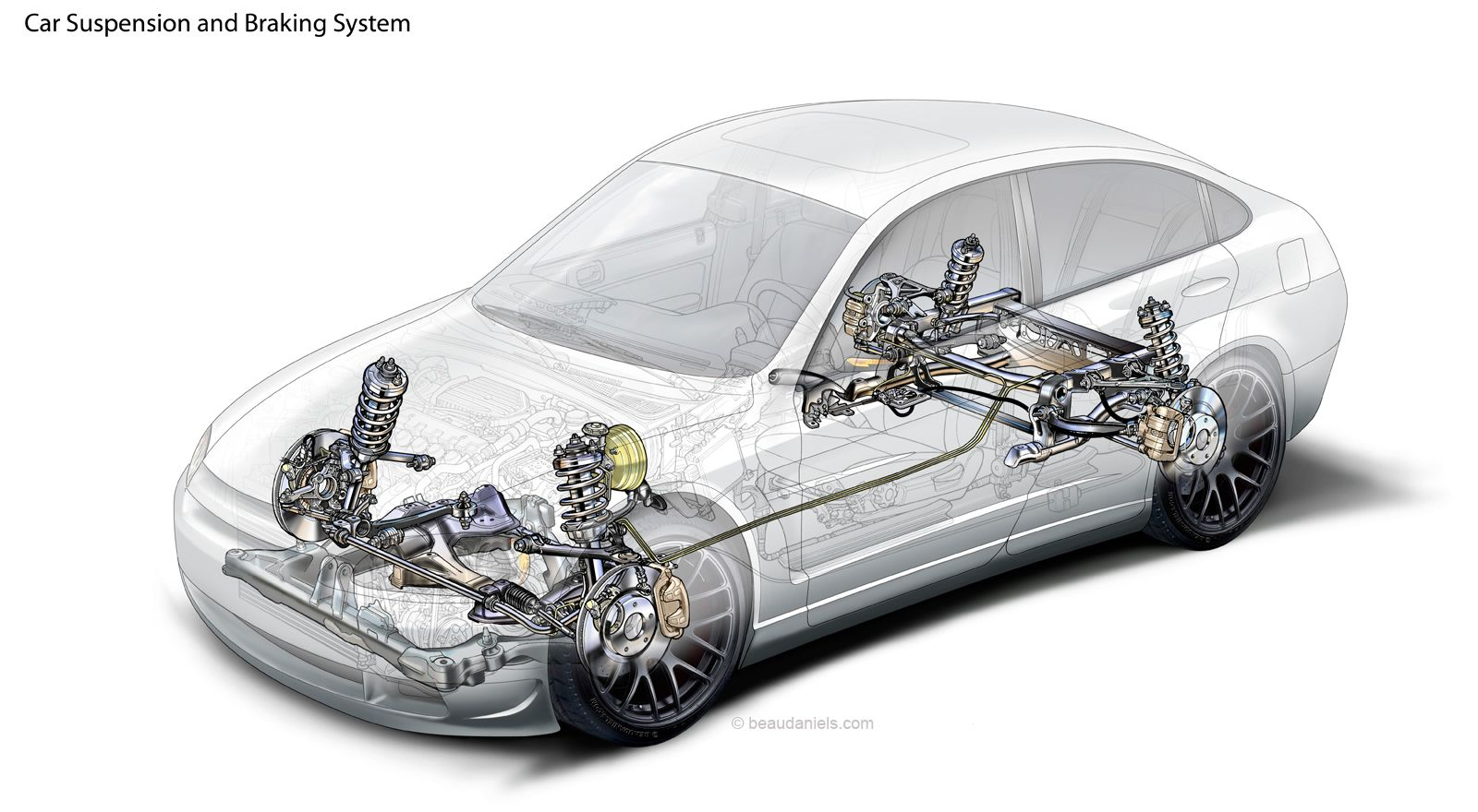 Car suspension and brake system. Cutaway technical automotive ...