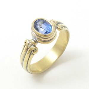 Caleb Meyer Oval Faceted Blue Sapphire Ring #3338