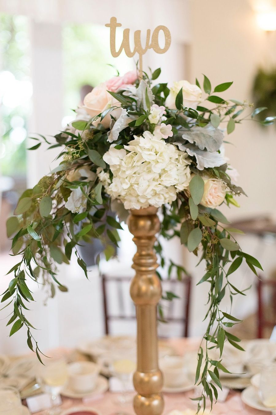 Vintage blush gold and sage st pete wedding tall for Tall wedding table centerpieces