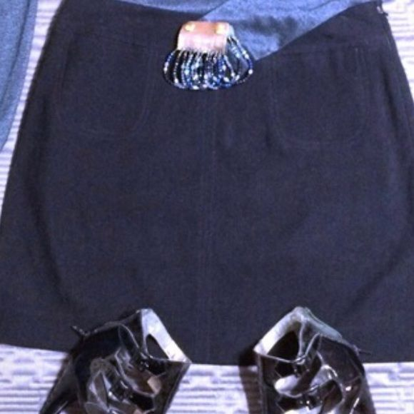 Faux suede Express miniskirt Black faux suede. Side zip with small slits on both sides. See third photo. Express Skirts Mini