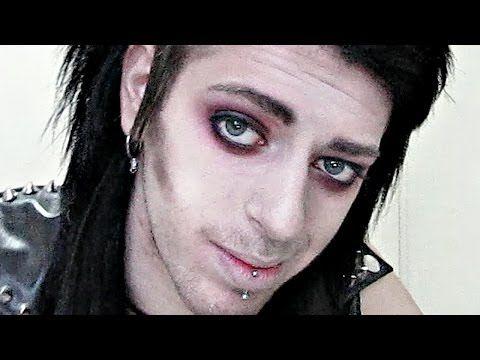 Red Goth Rock Star Makeup Tutorial For Guys Inspired By Chris Motionless Rock Star Makeup Rocker Makeup Goth Eye Makeup