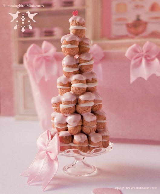 pink profiterole tower (Hummingbird Miniatures)