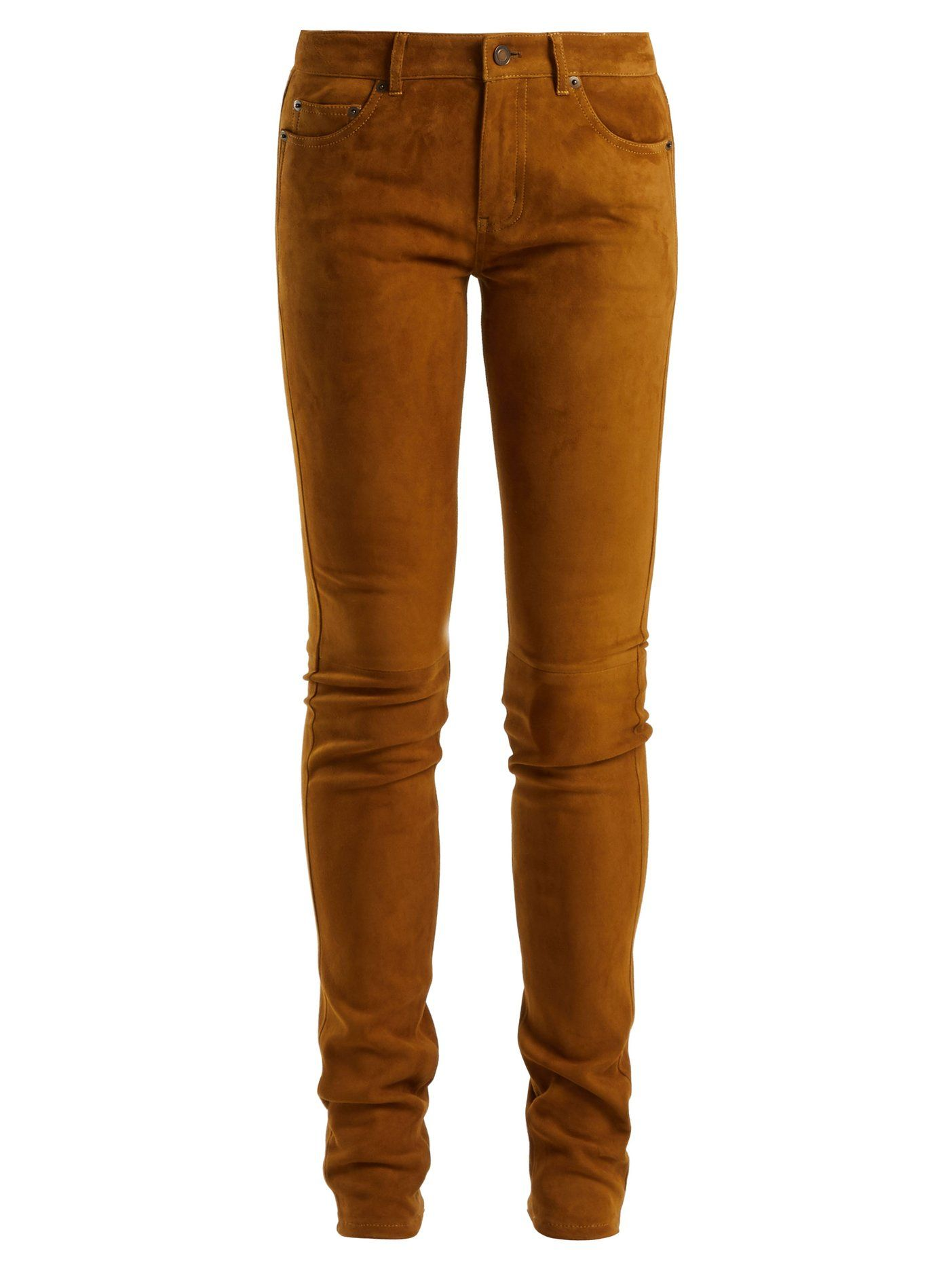 Mid-rise skinny suede trousers  efe34318c34e