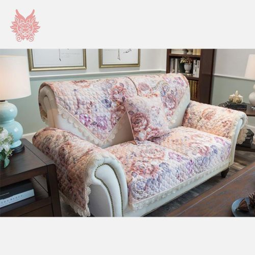 Floral Jacquard Quilting Sofa Cover Linen Blended Lace Patch Slipcovers  SP2136