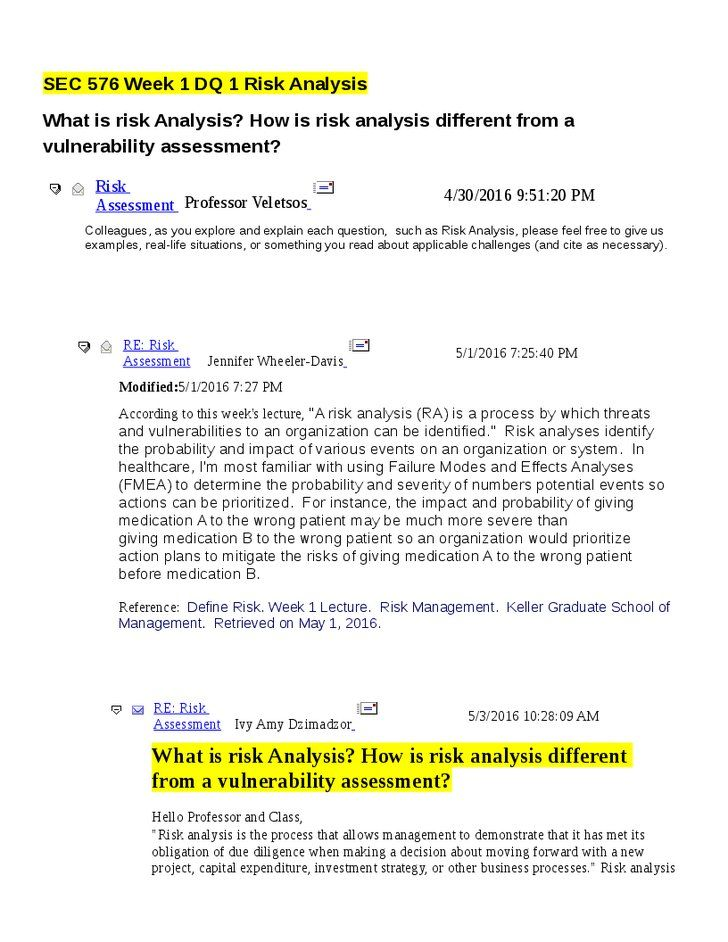 Sec  Week  Dq  Risk Analysis  What Is Risk Analysis How Is