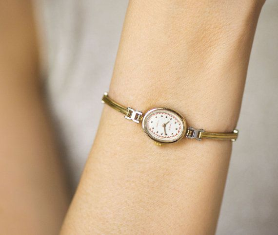 Oval women's watch bracelet gold plated lady's watch by SovietEra