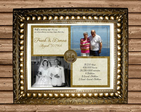 Golden 50th Anniversary Gift Wedding By PartyPrintExpress