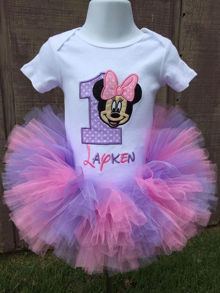 Look Who/'s Minnie Girl Birthday Set Purple Minnie Mouse Tutu Set