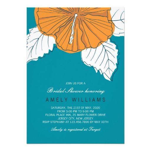 Hibiscus Orange Teal Bridal Shower Invitation