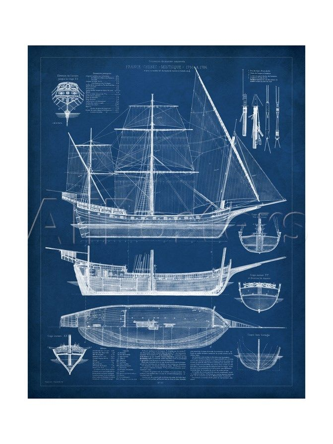 Antique ship blueprint i art prints sketches and prints antique ship blueprint i malvernweather Choice Image
