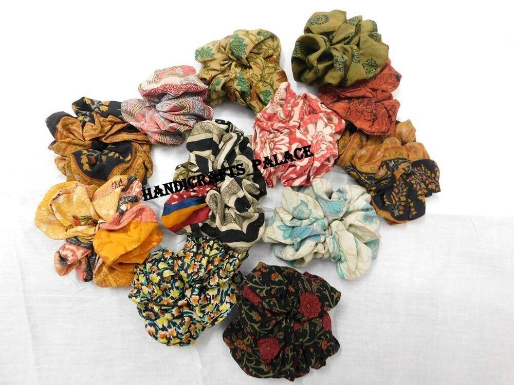 5 Pcs Silk Hair Scrunchies Ponytail Holder Elastic Ties