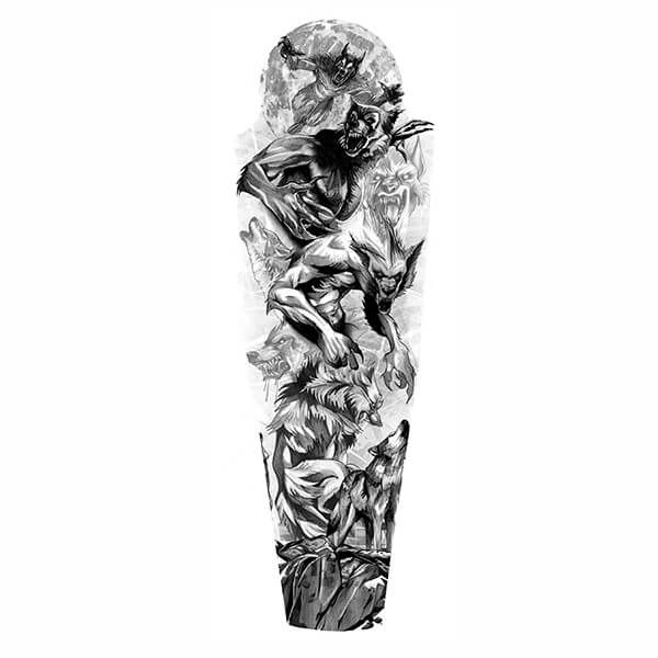Tattoo Sleeve Stencils: Werewolves Full Sleeve Tattoo Designs