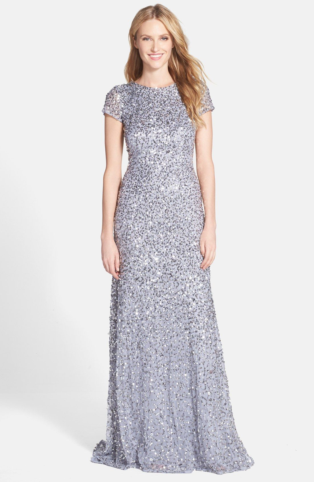 Short Sleeve Sequin Mesh Gown | Adrianna papell, Petite and Sequins