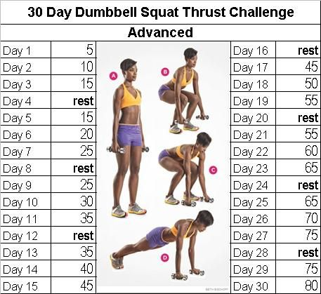 fitness challenge dumbbell squat thrust  30 day squat