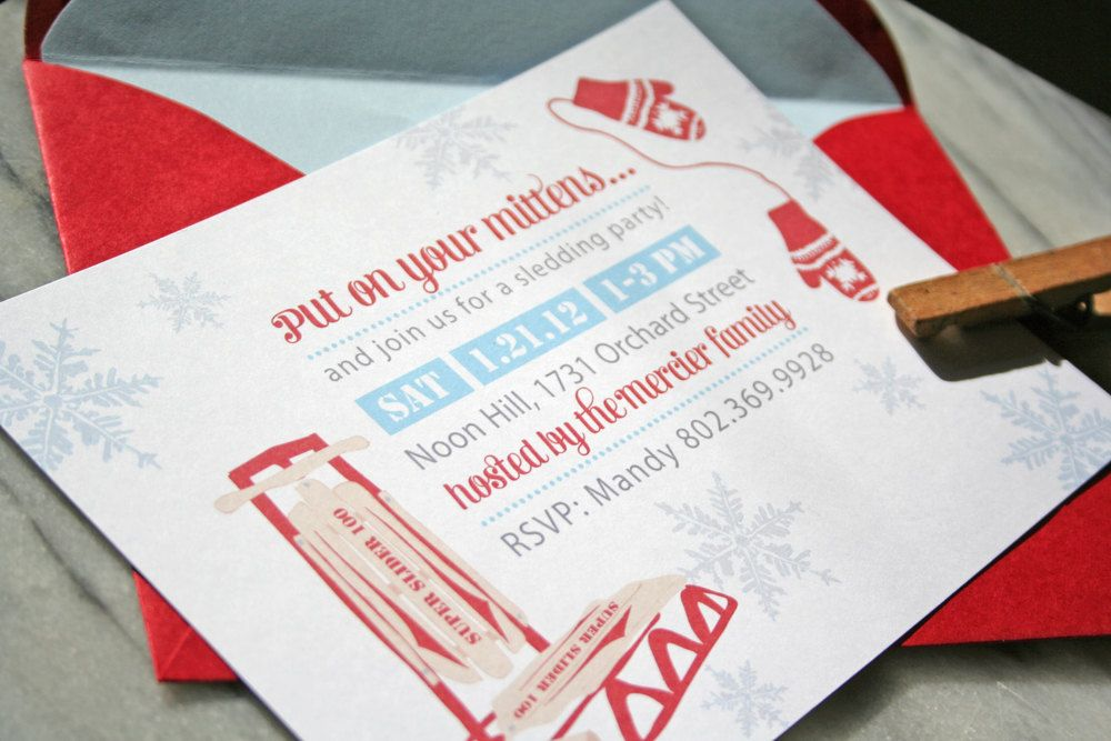 Sledding Party Invitations. Will\'s 5th Birthday Party | Party ...