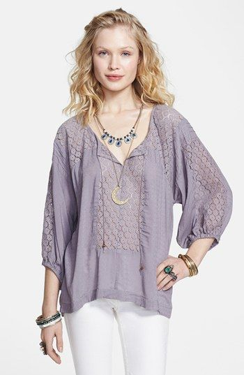 74adbc32a067 Free People Lace Inset Peasant Blouse | Nordstrom | Lady top | Lace ...
