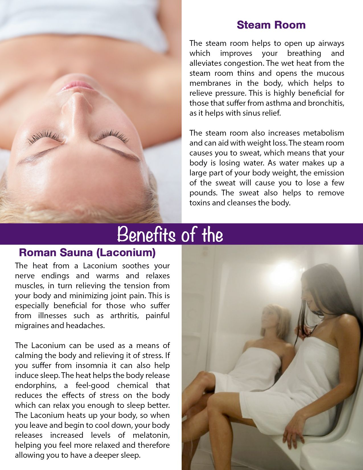 The benefits of the steam room and Lanconium (Roman Sauna) | Sault ...